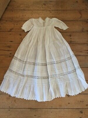 Original Victorian Edwardian Cotton And Lace Christening Gown