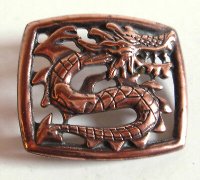 Vintage Bronze or Copper Dragon Belt Buckle Small Size