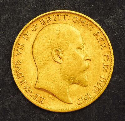 1906, Great Britain, Edward VII. Nice Gold ½ Sovereign Coin. (VF+) 3.94gm!