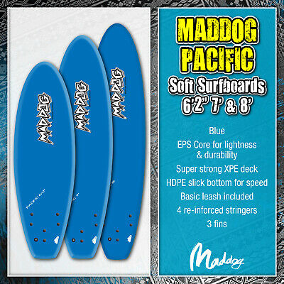 MADDOG Pacific Surfboards Surfing Boards Soft Top Foam Surf 6ft 7ft 8ft Blue