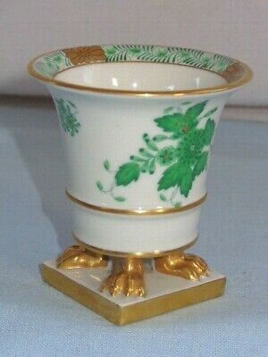 Herend Hungary Porcelain Green Chinese Bouquet Claw Footed Small Vase