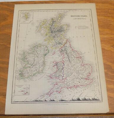 c1850 Antique COLOR Map///BRITISH ISLES, published by Orr and Company