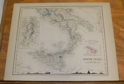 c1850 Antique COLOR Map///SOUTH ITALY, published by Orr and Company