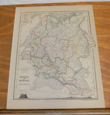 c1850 Antique COLOR Map///RUSSIA IN EUROPE, published by Orr and Company