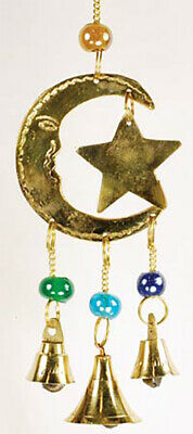 Three Bell Star And Moon Brass Wind Chime Home Doorstep Charms Hanging Decor New