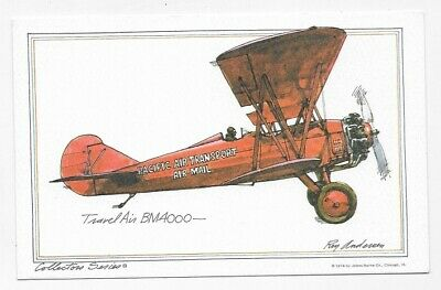 TRAVEL AIR BM4000 AIRPLANE Art By ROY ANDERSEN Unposted Post Card #3944