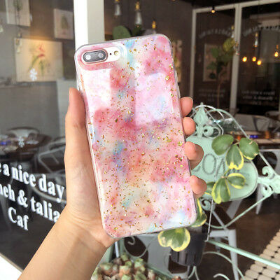 Bling Glitter Pink Marble Pattern Case Cute Slim Fit Protective Cover For iPhone