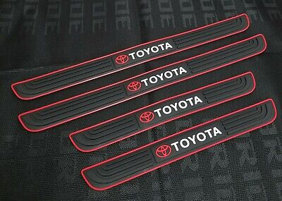4PCS  Black Rubber Car Door Scuff Sill Cover Panel Step Protector For Toyota