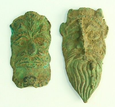 ! AUTHENTIC 200-300 AD Celtic-Roman Bronze Lot of 2 Theater Masks Figures