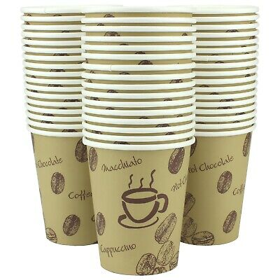 Single Wall Kraft Paper Coffee Cups Pack Of 50 Party Catering 250Ml Supplies