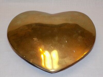 Brass Vintage Heart Shaped Dish with Lid Solid Trinket Box Large Jewelry Holder