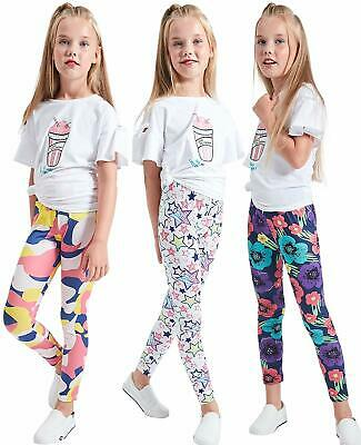 Children Kids Girls Stretch Full Length Leggings Pants Plain Trousers 3 pieces