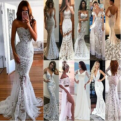 Womens Crochet Lace Bridesmaid Wedding Evening Party Prom Ball Gown Long Dress
