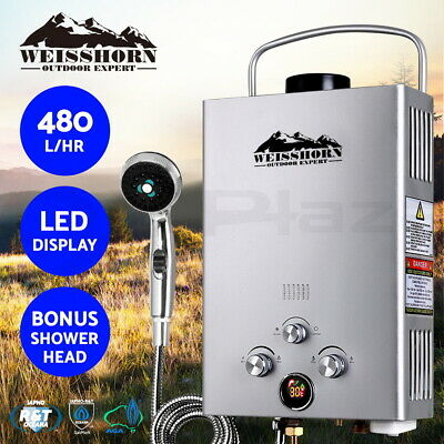 WEISSHORN Gas Hot Water Heater Portable Shower Camping LPG Outdoor Silver 4WD