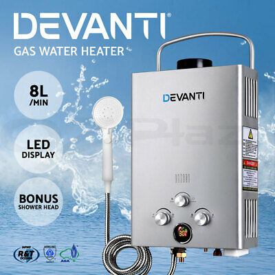 Devanti Portable Gas Water Heater Hot Shower Camping LPG Outdoor Instant 4WD SR