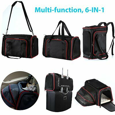 Travel Dog Cat Bag Carrier Expandable Airline Approved Pet Holder Easy Carry On