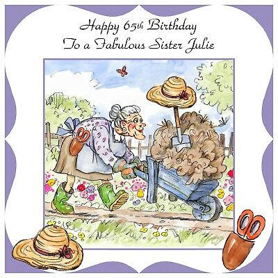 Ladies Personalised Handmade Birthday Card Any Age Funny Garden Gardening Lady