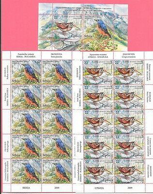 SERBIA Sc 457-8+458A NH MINISHEETS+S/S OF 2009 - BIRDS