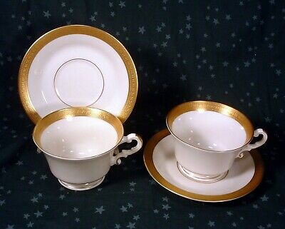 2 Syracuse China Old Ivory Gold Bracelet Pattern Cups & Saucers