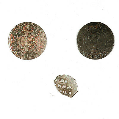 Set of 3 diff. medieval 1600's silver coins Sweden Christina, Carl and Russia