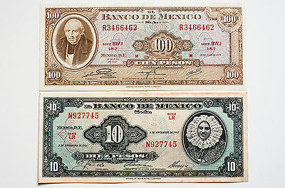 2 different Mexico 100 Pesos 1972 xf and 10 pesos 1965 XF
