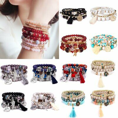 Fashion Multilayer Natural Stone Crystal Tassel Bangle Beaded Bracelet Jewelry