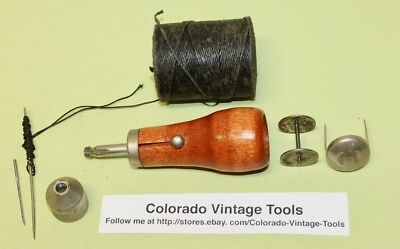 Vintage STEWARD Mfg.Co.(Worcester, Mass.) Sewing Awl + Extras / $6 to Ship / NR!