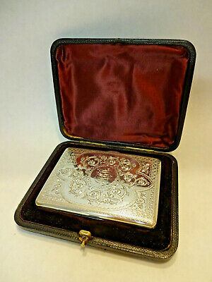 EDWARDIAN STERLING SILVER CALLING CARD CASE WITH PRESENTATION CASE, h/m 1911.