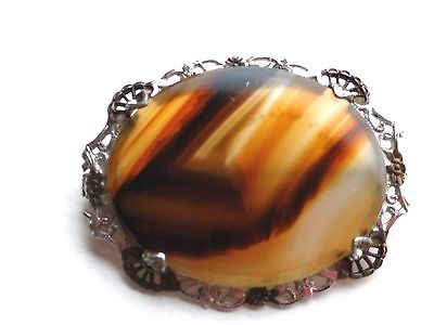 Antique Victorian Sterling Silver Moss Agate Pin # 3