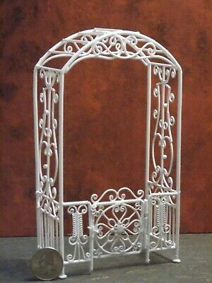 Dollhouse Miniature Arbor w/ Gate White Metal 1:12 inch scale P49 Dollys Gallery