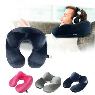 Foldable U Shaped Neck Supports Pillow Inflatable Cushion Travel Air Plane Sleep
