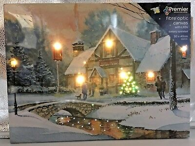 XMAS LED LIGHT UP Snow VILLAGE Pub SCENE CANVAS CHRISTMAS DECORATION PICTURE