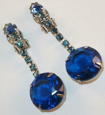 Vintage Silvertone Cobalt &teal Blue Rhinestones Long Dangle Drops Clip Earrings