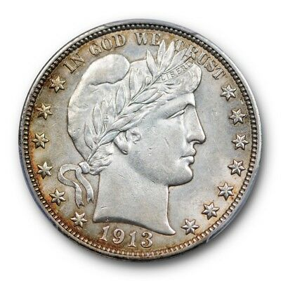 1913 50C Barber Half Dollar PCGS AU 58 About Uncirculated Golden Toned