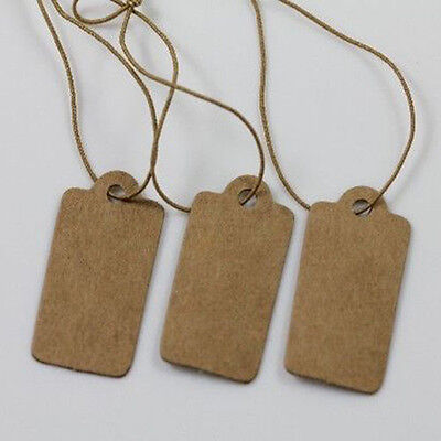 KQ_ 100X Jewelry Price Label Tags Blank Kraft Paper With Elastic String 30*15mm