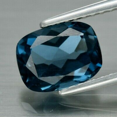 VS 2.03ct 8x6mm Cushion Natural London Blue Topaz, Brazil