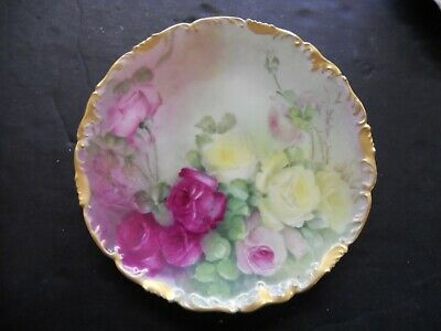 Antique T&V Limoges royal china hand painted plate flowers gold trim