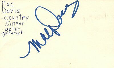 Mac Davis Singer Guitarist Actor Country Music Signed Autographed Index Card