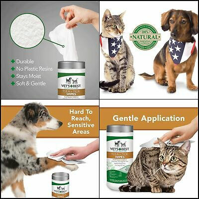 New Perfect 50 Wipes Made In USA Vet's Best Flea and Tick Wipes For Dogs & Cats