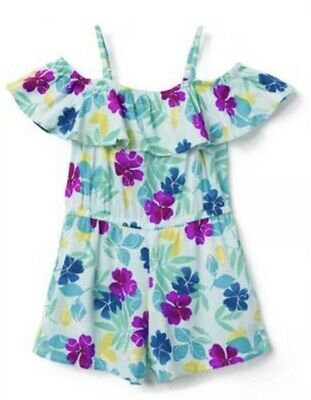 NWT Gymboree Jump into Summer Girls Flower Floral Ruffle Romper Outfit Size 7