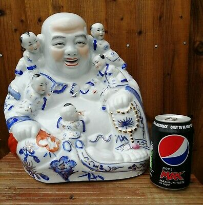 """Vintage Chinese Happy Laughing Buddha 12"""" Famille Rose Blue White Porcelain"""