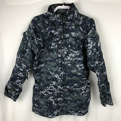52bf7a1a7dbc5 US NAVY Military Blue Digital Camo PARKA Work Jacket Coat Size Small Regular