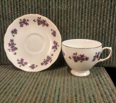 Queen Anne Tea Cup / Saucer Set Petite Violets Gold Trim Fine English Bone China
