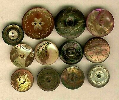 (12) Hand Engraved Design Victorian Pearl Buttons