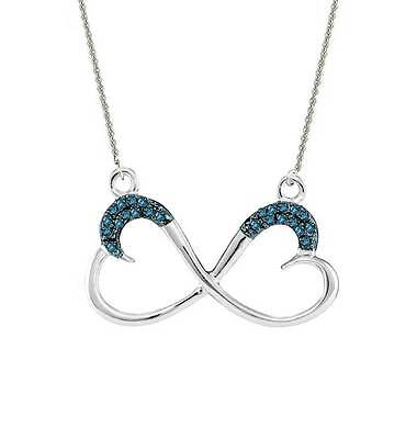 """Blue Diamond Infinity Heart Pendant Necklace 18"""" .925 Sterling Silver .10ct"""