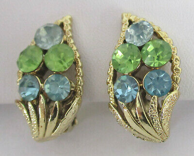 Vintage Sky-Blue/Peridot-Green Rhinestone Earrings