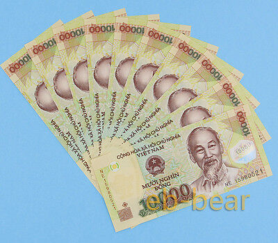 10 Pcs Vietnam 10000 (10K) Dong Banknotes Money Currency Uncirculated Polymer
