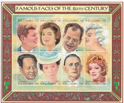 Famous Faces of 20th Century.  8-Stamp Plate from Gambia.  Mint Condition