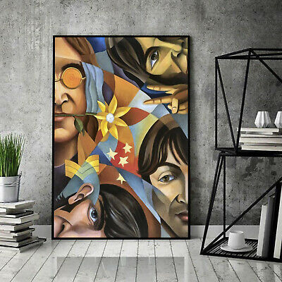 The Beatles Members R0ck Guitar Portrait Paper Poster Without Frame US Supplier