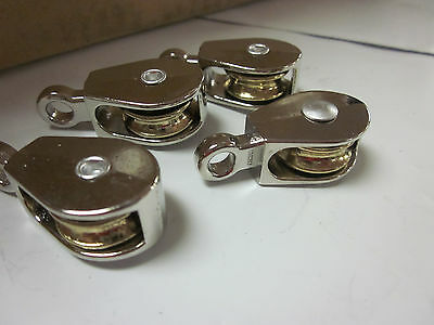 "~ 4pc ~ 3/4"" x 3/16"" SINGLE WHEEL BRASS SHEAVE DIE-CAST CHROME PULLEY ROPE WIRE"